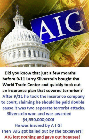 9/11, Memes, and Lost: Al  Did you know that just a few months  before 9-11 Larry Silverstein bought the  World Trade Center and quickly took out  an insurance plan that covered terrorism?  After 9/11 he took the insurance company  to court, claiming he should be paid double  cause it was two seperate terrorist attacks.  Silverstein won and was awarded  $4,550,000,000!  He was insured by A I G!  Then AIG got bailed out by the taxpayers!  AIG lost nothing and gave out bonuses!