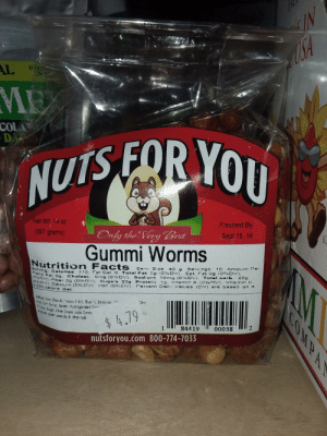 "Facts, Juice, and Protein: AL  EORYOU  COLA  NUTS FOR  Freshest By  Sept 15. 19  et Wt 14 oz  (397 grams)  uly the Very est  Gummi Worms  Nutrition  Facts  sze%DV g Serras og 10% amo  serv  ing: Calories 110,  Cal, 0, T  Trans  19, Vitamin A (0% V), Vitamin C  Dair-values (CV) are based on  er g (0%r»), sug ""5 209  Calcium (0%D/). Iron' (OwgC,V).  Protein  rercent  2.000 calorie  c Color(Red 40, Yeow5&6,Blue 1), Beasvax  Corn Syrup, Gelatn, Hydrogenated  rs, Sugar, WWnte Grape juice Conce  Citic  uten, peanuts& o  4.79  other nuts  2  00058  84419  nutsforyou.com 800-774-7033 These ""gummi worms"""