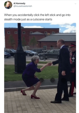 Your Majesty. via /r/funny https://ift.tt/2KkwCkb: Al Kennedy  @housetoastonish  When you accidentally click the left stick and go into  stealth mode just as a cutscene starts Your Majesty. via /r/funny https://ift.tt/2KkwCkb