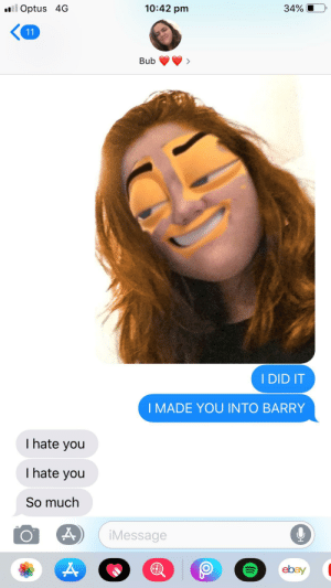 i turned my girlfriend into barry bee benson: al Optus 4G  10:42 pm  34%  11  Bub  I DID IT  I MADE YOU INTO BARRY  I hate you  I hate you  So much  iMessage  ebay i turned my girlfriend into barry bee benson