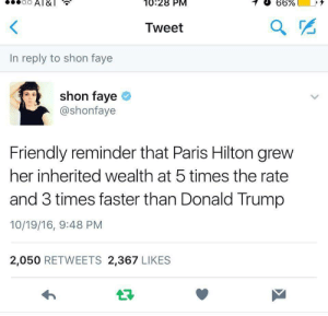 doomedbabydoll:  Let's make America hot again : Al8  10:28 PM  <  Tweet  In reply to shon faye  shon faye  @shonfaye  Friendly reminder that Paris Hilton grew  her inherited wealth at 5 times the rate  and 3 times faster than Donald Trump  10/19/16, 9:48 PM  2,050 RETWEETS 2,367 LIKES doomedbabydoll:  Let's make America hot again