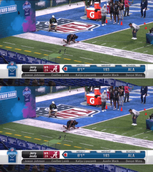 .@AlabamaFTBL WR @JerryJeudy runs a 4.46u 40-yard dash!   📺: #NFLCombine on @NFLNetwork https://t.co/21hPanlNpW: .@AlabamaFTBL WR @JerryJeudy runs a 4.46u 40-yard dash!   📺: #NFLCombine on @NFLNetwork https://t.co/21hPanlNpW