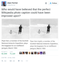 Wikipedia, Penguin, and Scottish: Alan Ferrier  @alanferrier  2 Follow  Who would have believed that the perfect  Wikipedia photo caption could have been  improved upon?  Piper Kerr, a member of the Scottish  National Antarctic Expedition, plays  the bagpipes for an indifferent  penguin, March 1904  Piper Kerr (right), a member of the  Scottish National Antarctic Expedition,  plays the bagpipes for an indifferent  penguin, March 1904  RETWEETSLIKES  42,34471,119  3:03 PM -13 Dec 2016  38242K 71K