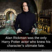 Facts, Harry Potter, and Memes: Alan Rickman was the only  Harry Potter actor who knew his  character's ultimate fate  weird-facts.org  @factsweird