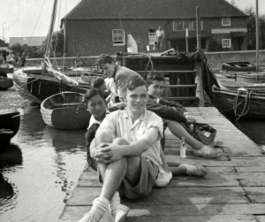 Germany, Jewish, and Boys: Alan Turing at Bosham with two Jewish refugee boys he rescued from Nazi Germany