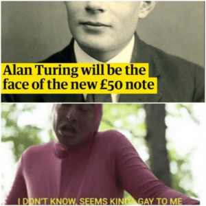 History, Alan Turing, and Gay: Alan Turing will be the  face of the new £50 note  IDON'T KNOW, SEEMS KIND GAY TO ME Fr tho