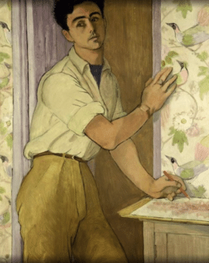 "alanspazzaliartist:  Peter Samuelson - ""Self Portrait in the Bird Room"" 1952: alanspazzaliartist:  Peter Samuelson - ""Self Portrait in the Bird Room"" 1952"