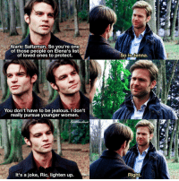 Jealous, Memes, and Party: Alaric Saltzman. So you're one  of those people on Elena's list  of loved ones to protect.  You don't have to be jealous. I don't  really pursue younger women.  It's a joke, Ric, lighten up  So is denna.  Right. [2x15 - The Dinner Party] Throwback to fetus Elijah and his fancy hair 😂 I just love Elijah's sass lol ⠀ Q: Elijah or Alaric? A: Elijah ⠀ Thank you so much for 154k!!! ❤ ⠀ My edit give credit [ elijahmikaelson alaricsaltzman tvd thevampirediaries vampirediaries tvdforever|154k]