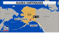 Friday, Memes, and News: ALASKA EARTHQUAKE  RUSSIA  AK  M 7.0  CANADA  ANCHORAGE  BERING SEA  JUNEAUU  FOX  NEWS  indchanneL BREAKING: A tsunami warning was issued for a portion of Alaska after a 7.0 earthquake rocked the state on Friday.