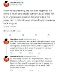 Albert Burneko Union I Think My Favorite Thing That Has Ever Happened In A Movie Is When Bane Breaks Batman S Back Drags Him To An Underground Prison On The Other Side Of
