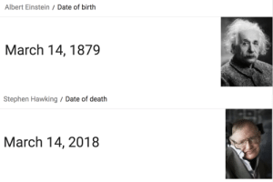 pisces-history:  sixpenceee:  Stephen Hawking died on the date Albert Einstein was born. More interesting posts here.  Plus this same day is the mathematical Pi Day 3.14 (03/14) : Albert Einstein/ Date of birth  March 14, 1879   Stephen Hawking/ Date of death  March 14, 2018 pisces-history:  sixpenceee:  Stephen Hawking died on the date Albert Einstein was born. More interesting posts here.  Plus this same day is the mathematical Pi Day 3.14 (03/14)