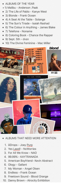 Bloods, Chance the Rapper, and Frank Ocean: ALBUMS OF THE YEAR  1) Malibu Anderson .Paak  2) The Life of Pablo Kanye West  3) Blonde Frank Ocean  4) A Seat At the Table Solange  5) The Sun's Tirade Isaiah Rashad  6) The Colour in Anything James Blake  7) Telefone No  8) Coloring Book Chance the Rapper  9) Sept. 5th dvsn  10) The Divine Feminine Mac Miller   blond  MAL I UE HE LIFE OF PABLO  E LIFE OF PABLO  AND  RSON PAAK  PABLO  HE CA PABLO  PABLO  THE LIFE OF  PABLO  HICH ONE  CH ONE.  WHICH JONE  -CH ONE  WHICH ONE.  ONE  HIONE  WHICH ONE  WHICH ONE.  ICH ONE  CH ONE  WHICH iONE  WHICH ONE  WHICH ONE  THE Su NS TTAA DE   ALBUMS THAT NEED MORE ATTENTION  1. iiiDrops Joey Purp  2. Yes Lawd! NxWorries  3. For All We Know NAO  4. 99.99% KAYTRANADA  5. American Boyfriend- Kevin Abstract  6. Ology Gallant  7. My Woman Angel Olsen  8. Endless Frank Ocean  9. Freetown Sound Blood Orange  10. Danny Brown Atrocity Exhibition My personal Top 10 Albums of 2016 ++ 10 Albums That Need More Attention