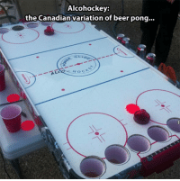 <p>The Canadian Variation.</p>: Alcohockey:  the Canadian variation of beer pong..  HOC <p>The Canadian Variation.</p>