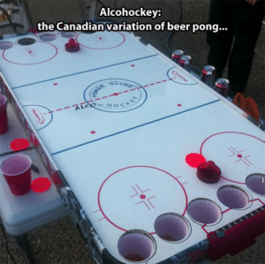 Beer, Tumblr, and Blog: Alcohockey:  the Canadian variation of beer pong..  HOC srsfunny:The Canadian Variation