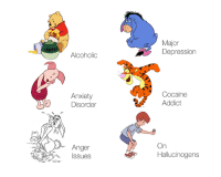 Memes, Winnie the Pooh, and Anxiety: Alcoholic  Anxiety  Disorder  Anger  Ssues  Major  Depression  Cocaine  Addict  On  Hallucinogens The truth about Winnie the Pooh.