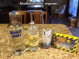 Party, Tumblr, and Blog: Alcoholism level: engineer.  ..  BSOLU  VODKA epicjohndoe:  Some Engineers Know How To Party