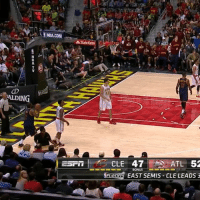 Kyrie Irving, Sports, and Game: ALDING  NBACOM  A State Farm  CLE 47 ATL 52  EAST SEMIS CLE LEADs 3 Kyrie Irving is still glitching from last night's game... 😂