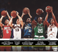 Basketball, Nba, and WNBA (Womens National Basketball Association): ALDING  PALDING  CELT  20  13  5  20 18 BASKETBALL HALL OF FAME INDUCTEES  JASON KIDD  2ND ALL-TIME IN  AST & STL  STEVE NASH  2XNBA  MVP  GRANT HILL  2X NCAA CHAMP  & 5X ALL-NBA  RAY ALLEN  ALL-TIME  LEADER IN 3PM  TINA THOMPSON  4X WNBA  CHAMPION  B'R The Hall of Fame just got a lot stronger 💪