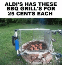 ALDI'S HAS THESE  BBQ GRILL'S FOR  25 CENTS EACH Seems legit. *-Jessie-*