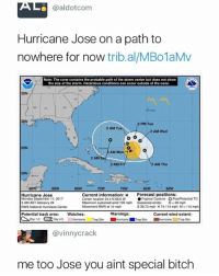 You ain't special: @aldotcom  Hurricane Jose on a path to  nowhere for now trib.al/MBo1aMv  Note: The cone contains the probable path of the storm center but does not show  the size of the storm.  conditions can occur outside of the cone  35N  2 PM Tue  2 AM T  2 AM Wed  25N  AM  2 AM  2 AM Fri  2 AM Thu  20N  60W  ● Tropical Cyclone Post Potential TC  S 39-73 mph H 74-110 mph M> 110 mph  85W  80W  75W  70W  65W  Hurricane Jose  Monday September 11, 2017  5 AM AST Advisory 24  NWS National Hurricane Center  Current information: Forecast positions:  Center location 24.4 N 68.6 W  Maximum sustained wind 105 mph Sustained winds:D<39 mph  Movement NNW at 10 mph  Warnings  ■Hurricane ■Trop Stm  Watches:  Potential track area  △Day 1.3 CA Day 4-5  Current wind extent:  ■Hurricane l1lTropStm  Hurricane  Trop Sim  @vinnycrack  me too Jose you aint special bitch You ain't special