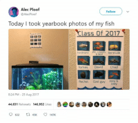 Cool, Fish, and Today: Alec Ploof  @AlecPloof  Follow  Today I took yearbook photos of my fish  Class Of 2017  Ferdinand JFk, nEOin. Bertrude  & MLK  Tomas David Chad  Rachel Cool guy Joey &  Joey  8:24 PM 25 Aug 20117  44,631 Retweets 146,952 Likes  9632 ta45K ㅇ 147K