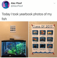 😂😂These year books are getting out of hand: Alec Ploof  @AlecPloof  Today I took yearbook photos of my  fish  Class Of 2017  Ferdinand Jk MLOIn Bertrude  Tomas David  Chad  Rachel Cool guy Joey & 😂😂These year books are getting out of hand