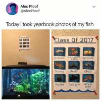 Cool, Fish, and Today: Alec Ploof  @AlecPloof  Today took yearbook photos of my fish  Lass Of 2017  Ferdinand JFK. mcoln. Bertrude  Tomas David  Chad  Rachel Cool guy Joey &  Joey omfg 😍🐟🐠