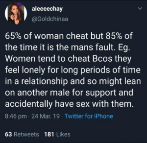 periods: aleeeechay  @Goldchinaa  65% of woman cheat but 85% of  the time it is the mans fault. Eg  Women tend to cheat Bcos they  feel lonely for long periods of time  in a relationship and so might lean  on another male for support and  accidentally have sex with them  8:46 pm 24 Mar. 19 Twitter for iPhone  63 Retweets 181 Likes