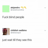 Fuck, Dank Memes, and Childish: alejandro  @raisdncarolina  Fuck blind people  childish sadbino  @datassque  just wait till they see this 👀