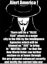 "~ By Ded Silence: Alert America  There will bea FALSE  FLAG attackinamajor  city inthe USA by the Intelligence  Agencies Which Will be  blamed on ISIS to bring  in MARTIAL LAW ""so that the  New World Order can further  enslave us athome through  the pre-planned enhanced security  and Justify the current fakewar ~ By Ded Silence"