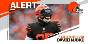 Browns place TE David Njoku on injured reserve. https://t.co/9BBCPSTXLt: ALERT  BROWNS  PLACED ON INJURED RESERVE Browns place TE David Njoku on injured reserve. https://t.co/9BBCPSTXLt