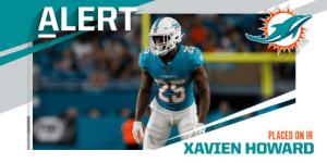 Dolphins place CB Xavien Howard (knee) on IR. (via @RapSheet) https://t.co/Ix6xpTKAkk: ALERT  Dolphins  PLACED ON IR  XAVIEN HOWARD Dolphins place CB Xavien Howard (knee) on IR. (via @RapSheet) https://t.co/Ix6xpTKAkk
