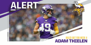 Vikings WR Adam Thielen ruled out (hamstring) for Week 8 vs. Redskins. https://t.co/tBYMcaxS5D: ALERT  LA9  VIKIDGS  RULED OUT FOR WEEK 8  ADAM THIELEN Vikings WR Adam Thielen ruled out (hamstring) for Week 8 vs. Redskins. https://t.co/tBYMcaxS5D