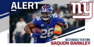 Giants RB Saquon Barkley (ankle) is questionable to return. https://t.co/tp76z2kWoe: ALERT  nu  QUESTIONABLE TO RETURN  SAQUO Giants RB Saquon Barkley (ankle) is questionable to return. https://t.co/tp76z2kWoe