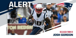 WR Josh Gordon released from Patriots' IR, will be subject to waivers. (via @TomPelissero) https://t.co/dm3totjJ74: ALERT  PATRADTS  TON REDS  RELEASED FROM IR  JOSH GORDON WR Josh Gordon released from Patriots' IR, will be subject to waivers. (via @TomPelissero) https://t.co/dm3totjJ74