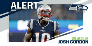 The @Seahawks have claimed WR Josh Gordon off waivers.  (via @RapSheet) https://t.co/Cu4GWb8v48: ALERT  PATUS  PATRIO TS  10  SEAHAWKS CLAIM  JOSH GORDON The @Seahawks have claimed WR Josh Gordon off waivers.  (via @RapSheet) https://t.co/Cu4GWb8v48