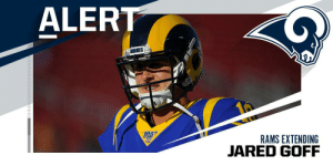 .@RamsNFL, @JaredGoff16 nearing four-year contract extension. The deal should pay him more than $32M per year. (via @RapSheet + @MikeSilver) https://t.co/5qb4IaB6us: ALERT  RAMS EXTENDING  JARED GOFF .@RamsNFL, @JaredGoff16 nearing four-year contract extension. The deal should pay him more than $32M per year. (via @RapSheet + @MikeSilver) https://t.co/5qb4IaB6us