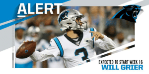 Panthers expected to start rookie QB Will Grier vs. Colts. (via @RapSheet) https://t.co/72VH0J5N6c: ALERT  SEASONS  EXPECTED TO START WEEK 16  WILL GRIER Panthers expected to start rookie QB Will Grier vs. Colts. (via @RapSheet) https://t.co/72VH0J5N6c