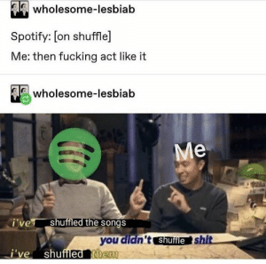 Fucking, Shit, and Spotify: Alewholesome-lesbiab  Spotify: [on shuffle]  Me: then fucking act like it  wholesome-lesbiab  Me  i've  shuffled the songs  you didn't shufle shit  i've shuffled them