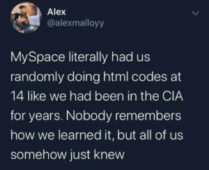 """HTML codes"": Alex  @alexmalloyy  MySpace literally had us  randomly doing html codes at  14 like we had been in the CIA  for years. Nobody remembers  how we learned it, but all of us  somehow just knew ""HTML codes"""