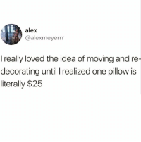 Who the hell has that kinda money @the_bitch_diaries 😅😅 check out my boo @the_bitch_diaries: alex  @alexmeyerrr  I really loved the idea of moving and re  decorating until I realized one pillow is  literally $25 Who the hell has that kinda money @the_bitch_diaries 😅😅 check out my boo @the_bitch_diaries