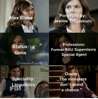 "Sorry that it took so long to make and post this edit 😞 I really try to post more in the next time...: Alex Blake  Status  Gone  criminal castle  Speciality:  Linguistics  Portrayed by:  eanne Tripplehorn  Professions:  Former BAU Supervisory  Special Agent  Quote  The monsters  don't stand  a chance."" Sorry that it took so long to make and post this edit 😞 I really try to post more in the next time..."