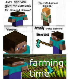 : Alex can vou  To craft diamond  pickaxe?  give mediamonds  for diamond pickaxe?  Actually crafts diamond  hoe  like a boss  Yeeees.  farming  time