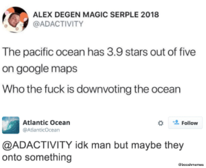 Dank, Google, and Memes: ALEX DEGEN MAGIC SERPLE 2018  @ADACTIVITY  The pacific ocean has 3.9 stars out of five  on google maps  Who the fuck is downvoting the ocean  Atlantic Ocean  Follow  @AtlanticOcean  @ADACTIVITY idk man but maybe they  onto something  @booshmemes Someone's salty by boosh92 FOLLOW HERE 4 MORE MEMES.