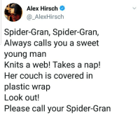 Spider, Couch, and Alex Hirsch: Alex Hirsch  @_AlexHirsch  Spider-Gran, Spider-Gran,  Always calls you a sweet  young man  Knits a web! Takes a nap!  Her couch is covered in  plastic wrap  Look out!  Please call your Spider-Gran Spider gran