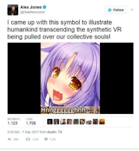 https://t.co/itUJvQ8jma: Alex Jones  @RealAlexJones  Follow  l came up with this symbol to illustrate  humankind transcending the synthetic VR  being pulled over our collective souls!  RETWEETS  LIKES  1,123 1,706  9:33 AM-7 May 2017 from Austin, TX  わ466 t3 1.1K 1.7K https://t.co/itUJvQ8jma