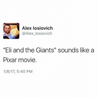 "Coming to theaters this winter, Samuel L. Jackson voices Eli, the aw-shucks kid who sometimes helps a group of blue giants.: Alex losiovich  AN @Alex losiovich  ""Eli and the Giants"" sounds like a  Pixar movie  1/8/17, 5:40 PM Coming to theaters this winter, Samuel L. Jackson voices Eli, the aw-shucks kid who sometimes helps a group of blue giants."