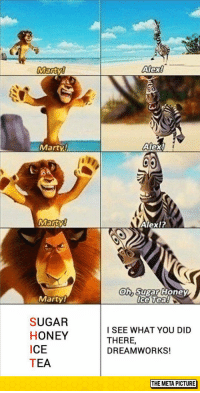 """Tumblr, Blog, and Http: Alex!  Marty  Alex!  Marty  Alexl?  (o  h Sugar Honey  ce bea8  0  Marty  SUGAR  HONEY  ICE  TEA  I SEE WHAT YOU DID  THERE  DREAMWORKS!  THE META PICTURE <p><a href=""""http://srsfunny.tumblr.com/post/154138264296/sugar-honey-ice-tea"""" class=""""tumblr_blog"""">srsfunny</a>:</p>  <blockquote><p>Sugar Honey Ice Tea</p></blockquote>"""
