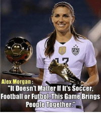 "Alex Morgan 🙌 🔺LINK IN OUR BIO!! 😎🔥: Alex Morgan  ""It Doesnt Matter If It's Soccer.  Football or Futbol This Game Brings  People Together. Alex Morgan 🙌 🔺LINK IN OUR BIO!! 😎🔥"