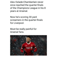 👀😂😣: Alex Oxlade-Chamberlain never  once reached the quarter-finals  of the Champions League in his 8  years at Arsenal  Now he's scoring 30 yard  screamers in the quarter-finals  for Liverpool  Must be really painful for  Arsenal fans  Standard  Chartered 👀😂😣